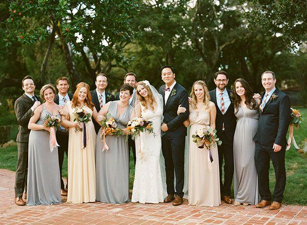 Carmel CA Fall Wedding Bridal Party In Soft Gray And Peach Dresses