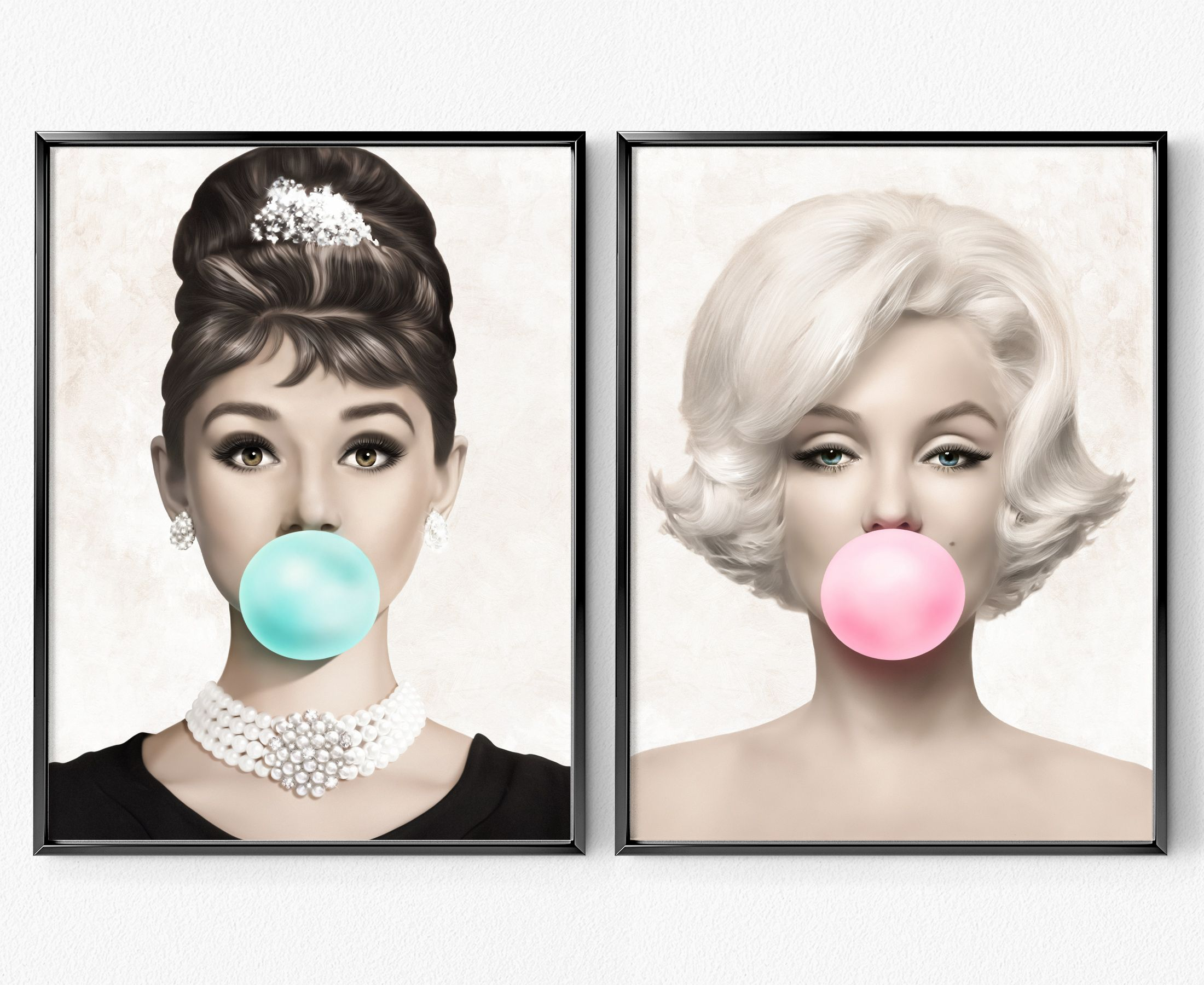 Audrey Hepburn Blue Bubblegum Canvas Wall Art A3