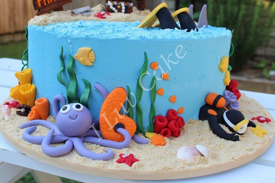 Ocean theme scuba diving cake