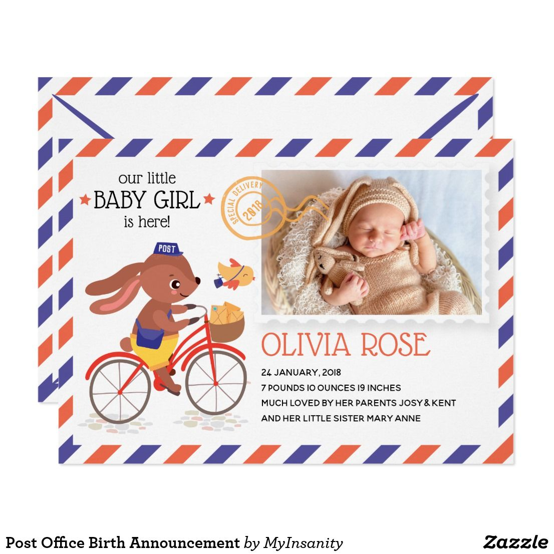 Post Office Birth Announcement   Zazzle com   Colliewood Productions