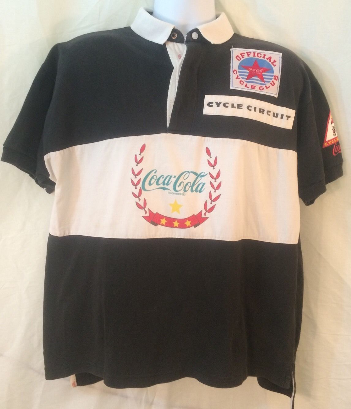 Vintage Coca Cola Cycle Circuit Rugby Style Polo Shirt Black Men 039