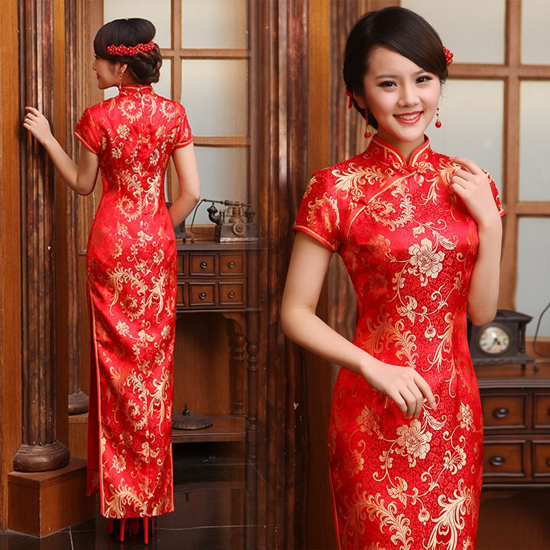 Gold-classy-folk-pattern-red-brocade-long-cheongsam-traditional ...