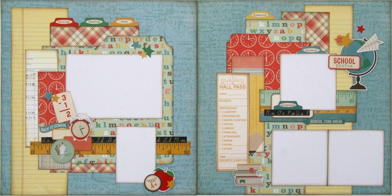Scrapbook ideas for teachers - School Two Page Scrapbook Layout Kit