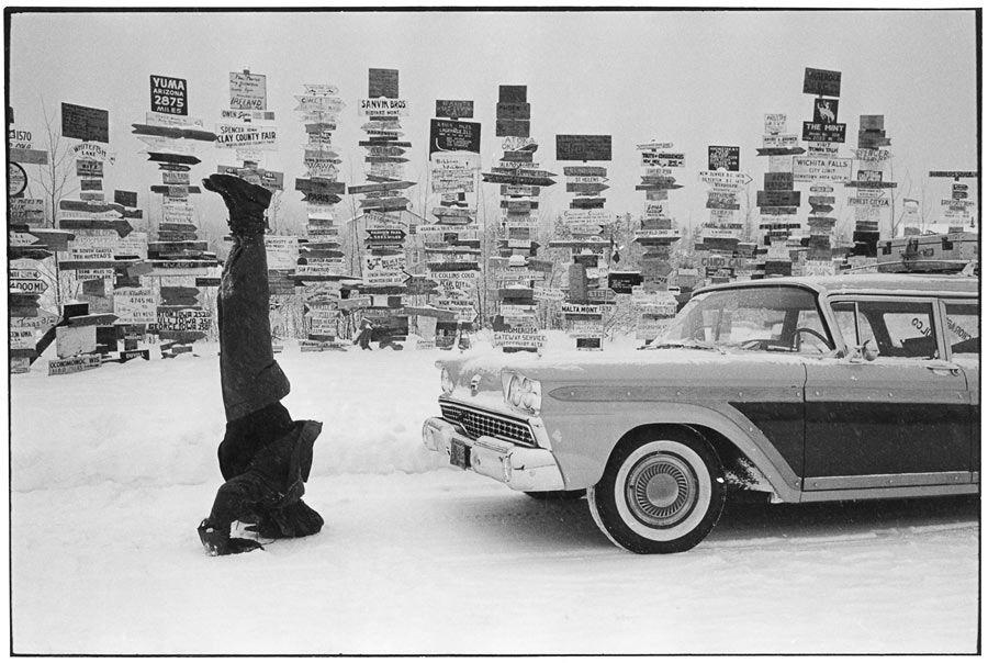 Marc Riboud  Road signs in Watson Lake, Yukon, Canada, 1958