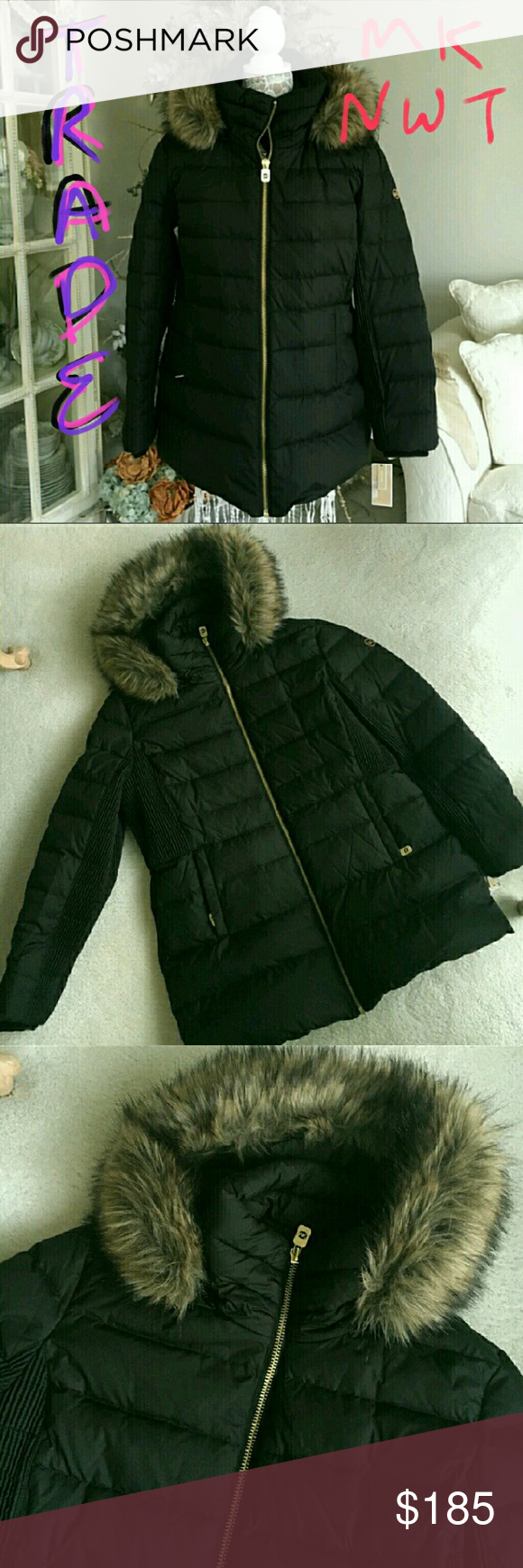 Looking to Trade - NWT Michael Kors Down Jacket Looking to trade.... jacket is New with tags, never worn.  Faux fur hood is removable.  XL Black with Gold hardware Michael Kors Jackets & Coats Puffers