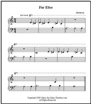 Fur Elise By Beethoven For Beginners Music For Music Teachers Com