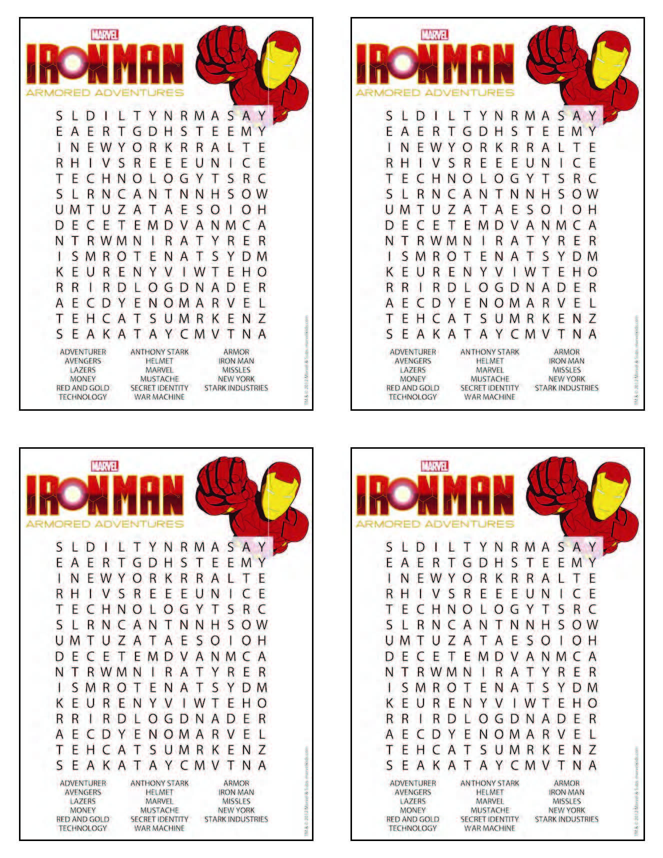 Iron Man Word Search From Free Printable