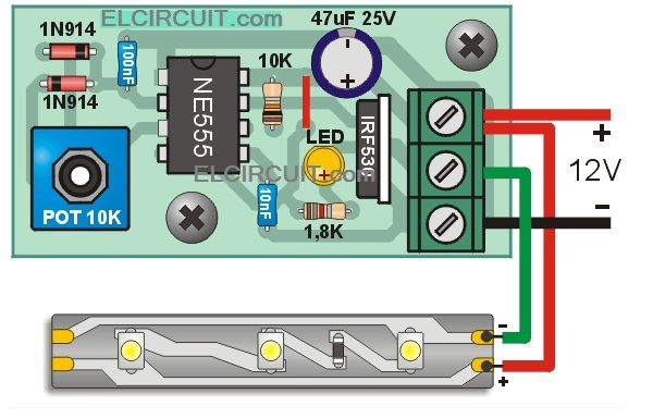 led strip light wiring diagram bolens lawn tractor strips dimmer with 555 circuit in 2019 w t htay pinterest