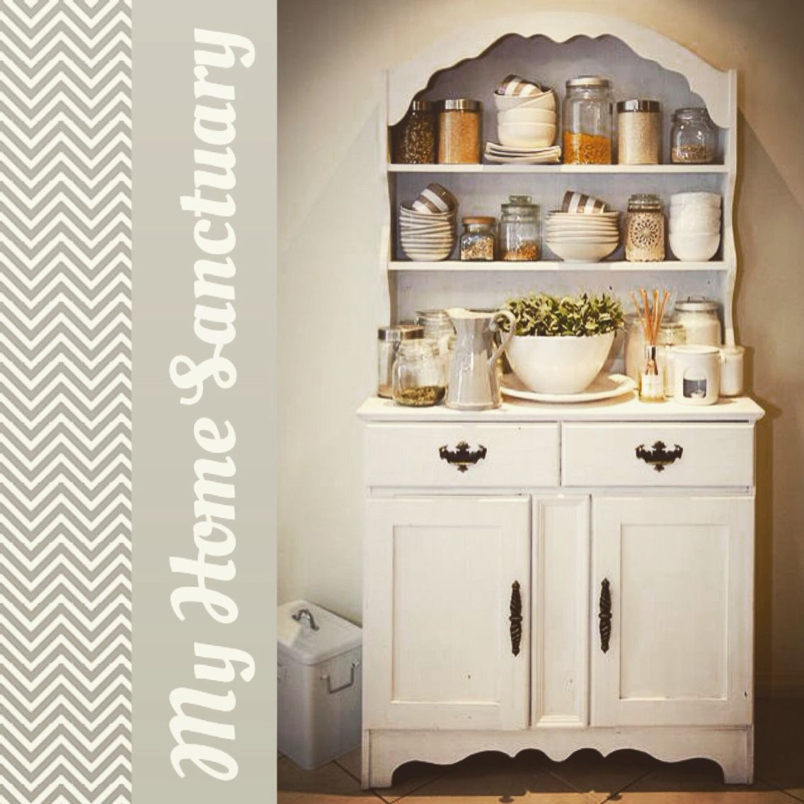 I Got This Unloved Hutch Second Handpainted It With My Selfmade Captivating White Kitchen Hutch Design Ideas