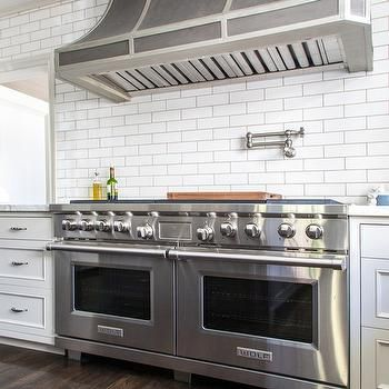 Zinc French Kitchen Hood with Satin Nickel Swing Arm Pot Filler ...