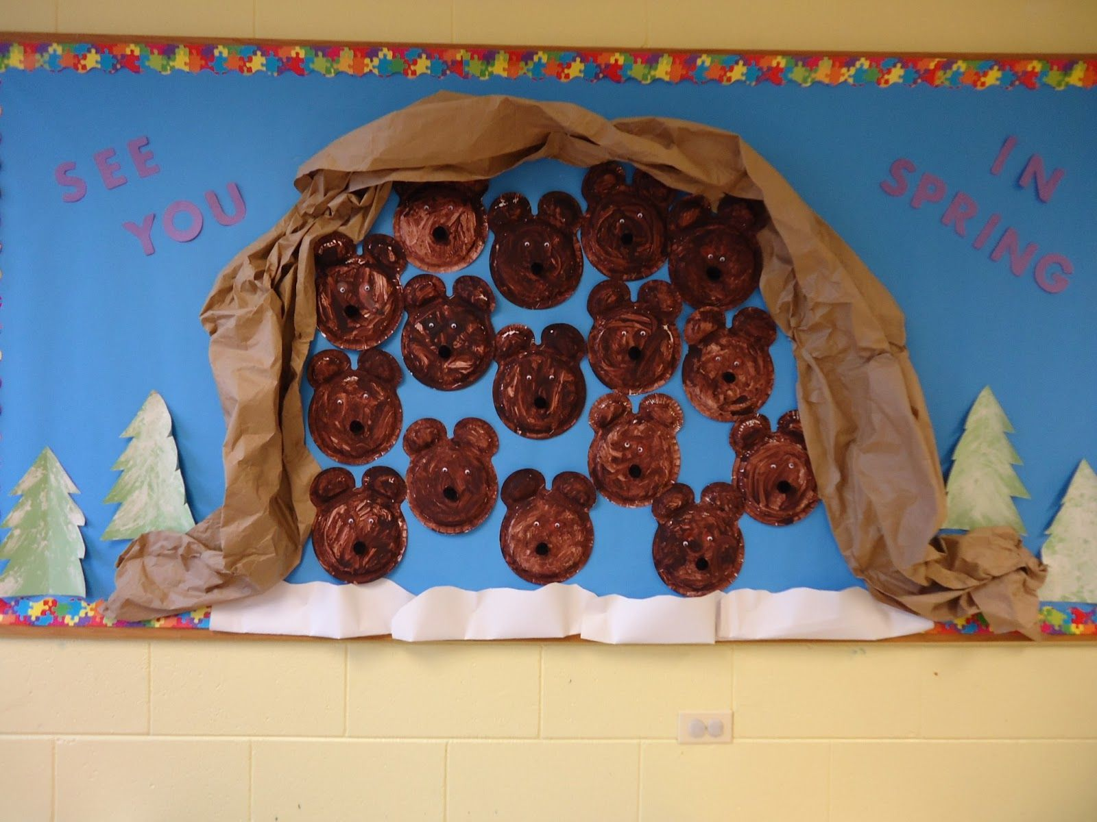 Hibernating Bears Winter Bulletin Board In Preschool