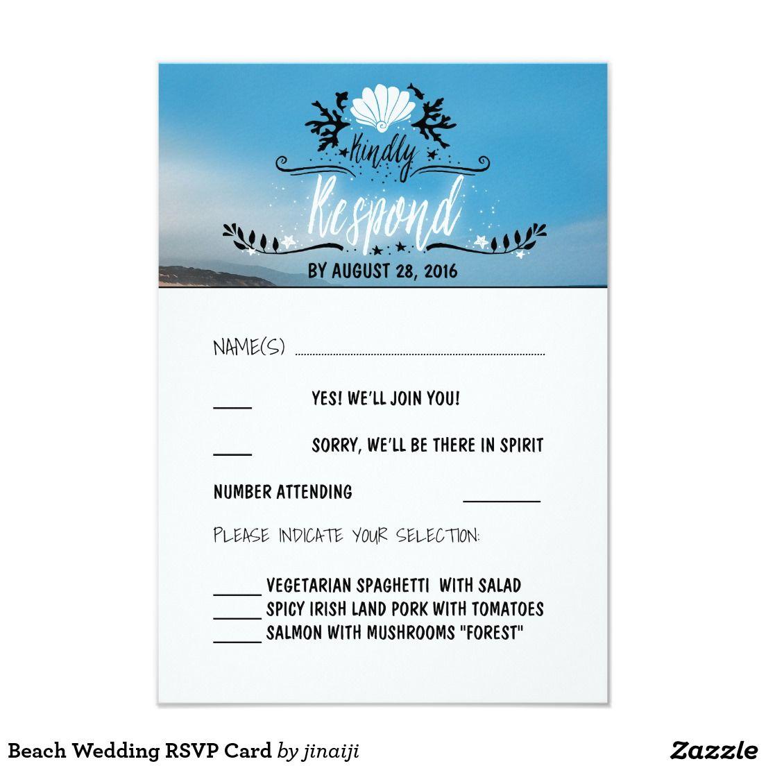Beach Wedding RSVP Card | Beach Wedding Invitations | Pinterest ...