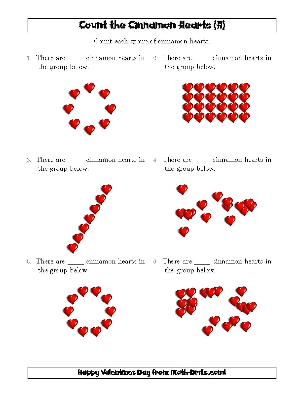 New Counting Cinnamon Hearts In Various Arrangements A Math Worksheet Freemath