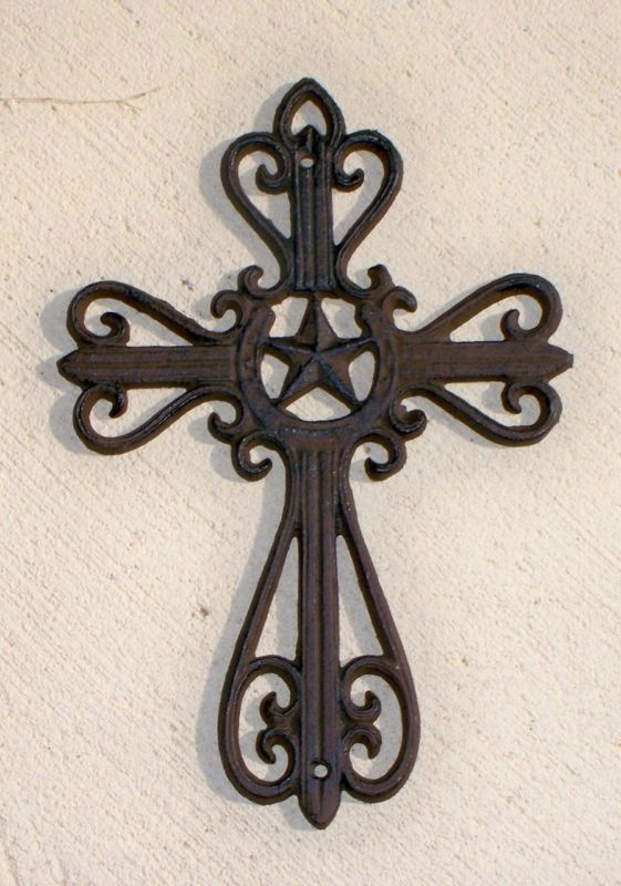 Wrought Iron Decorative Cross Star Western Horseshoe Rustic Brown Ebay