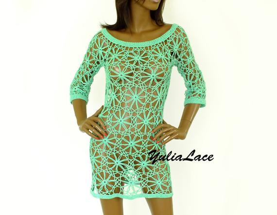 Beautiful beach dress, crochet dress, knitted dress,summer 2018, beach tunic, beach dress, Lace Dress, mint dress,Summer Women Dress #crochetbeachdress
