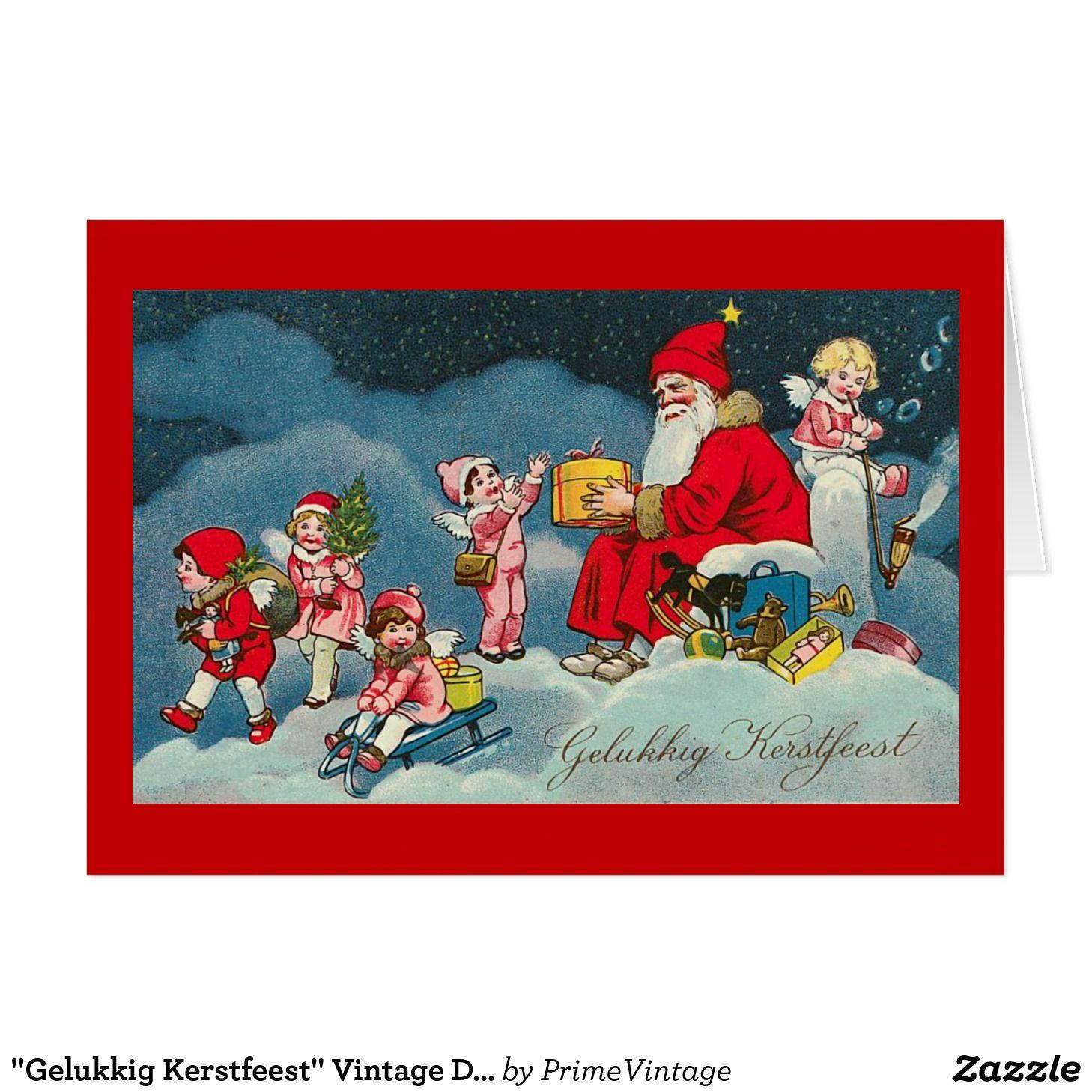 Dutch Christmas.Gelukkig Kerstfeest Vintage Dutch Christmas Card Zazzle