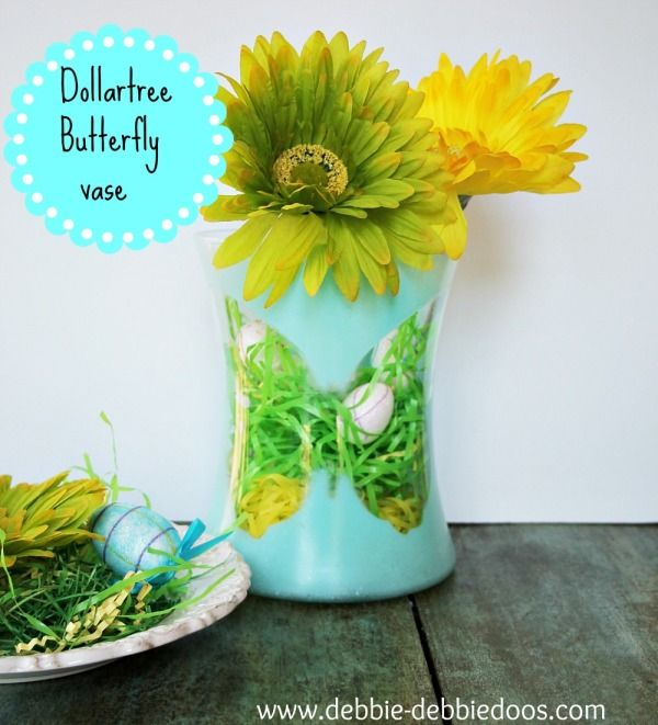 Dollar Tree Butterfly Silhouette Vase Spray Painted Vases Painted