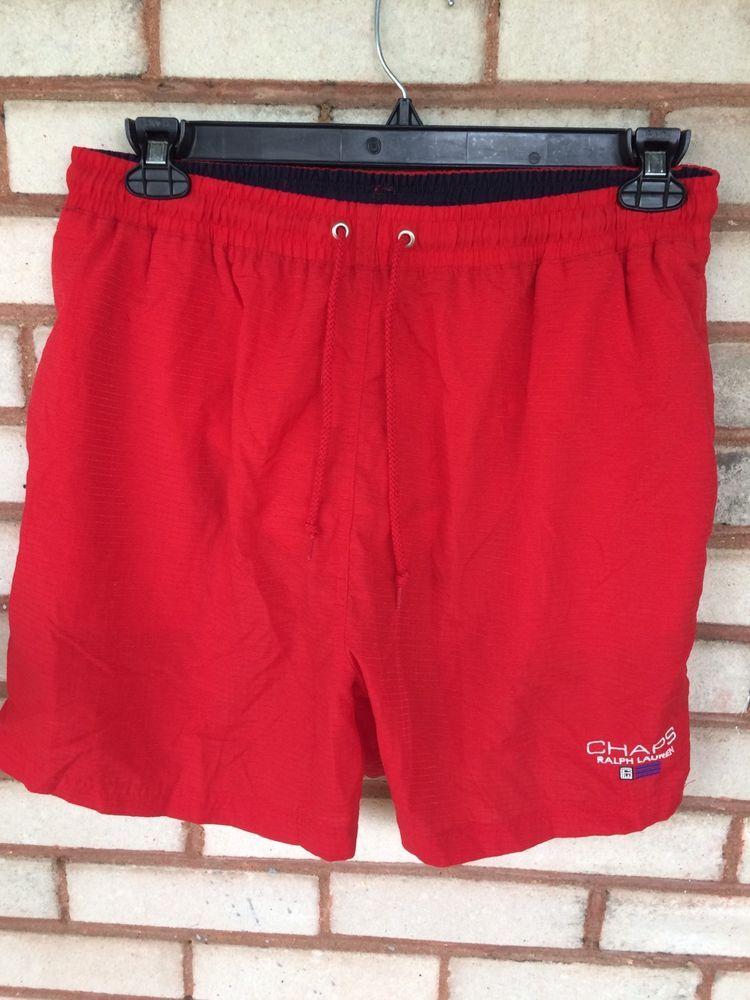 17f6454664922 Vintage Ralph Lauren Chaps Red Mens L Swim Trunks 90's Short Shorts Summer  | Clothing, Shoes & Accessories, Men's Clothing, Swimwear | eBay!