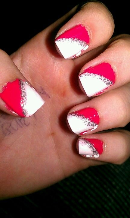 White glitter and pink!