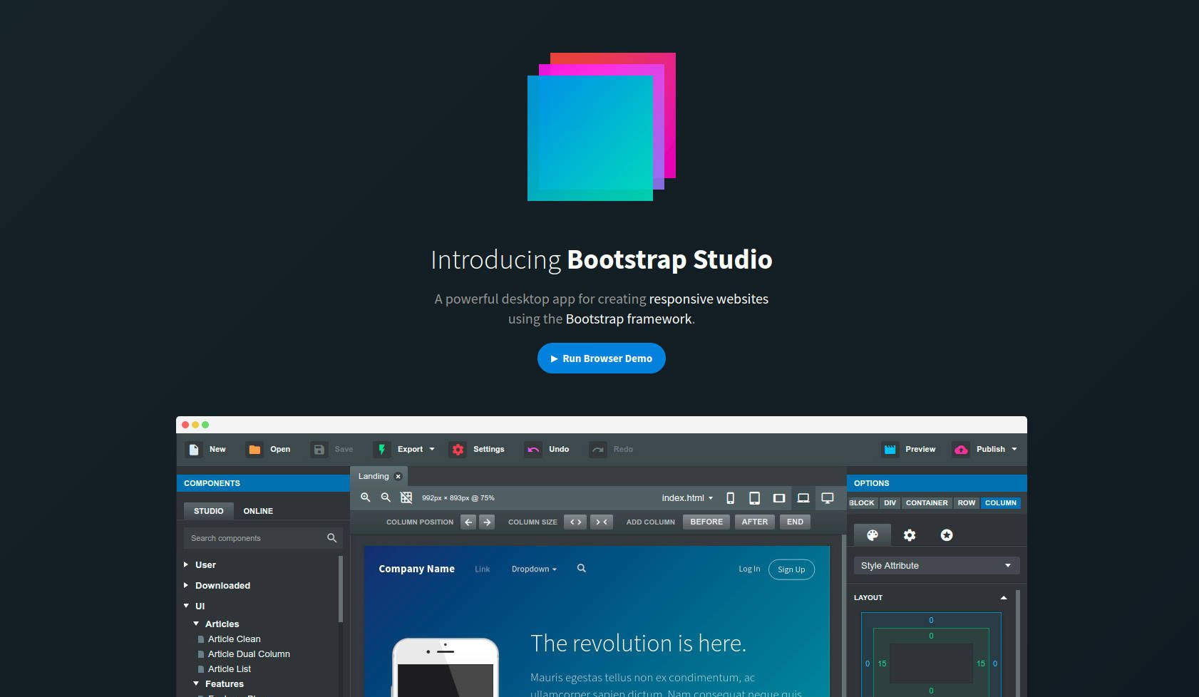 A Powerful Web Design Tool For Creating Responsive Websites Using The Bootstrap Framework Web Design Tools Tool Design Web Design