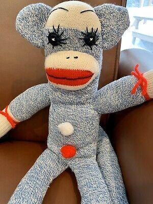 "Vintage Blue Sock Monkey With Button Eyes 20"" | eBay"