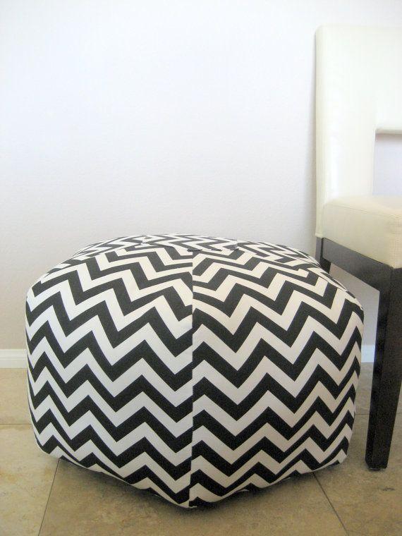 24 Ottoman Pouf Floor Pillow Black White Zig Zag by aletafae ...