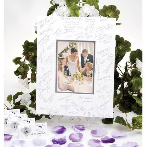White Silver Mat Autograph Frame Wedding Photo W Silver Pen Framed Wedding Photos Wedding Frames Wedding Keepsakes
