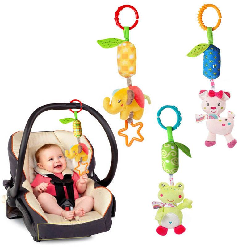2018 New Baby Crib Stroller Cot Buggy Pram Car Seat Hanging Bell Rattles Dangle Toy With Sound Baby Rattles Mobiles Handbell 아기 딸랑이 유모차 아기