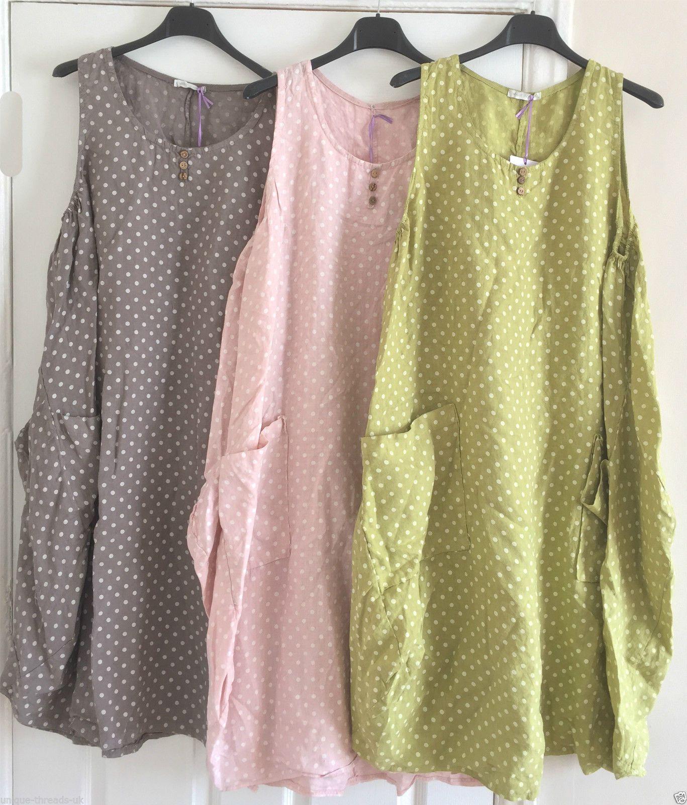 1dc08ceb293f6 New Boho Italian Lagenlook 100 Polka Dot Linen Tunic Pocket Pinafore Dress  50
