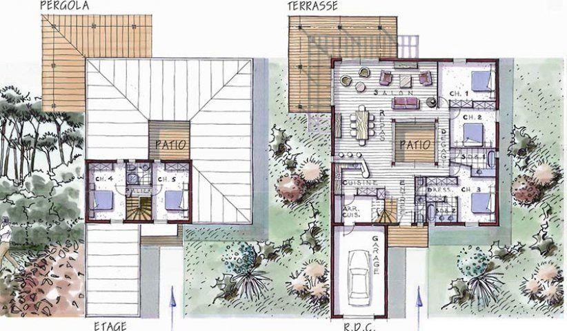 Maison Ossature Bois À Étage 177 M² 5 Chambres | Maison Bois, Patios