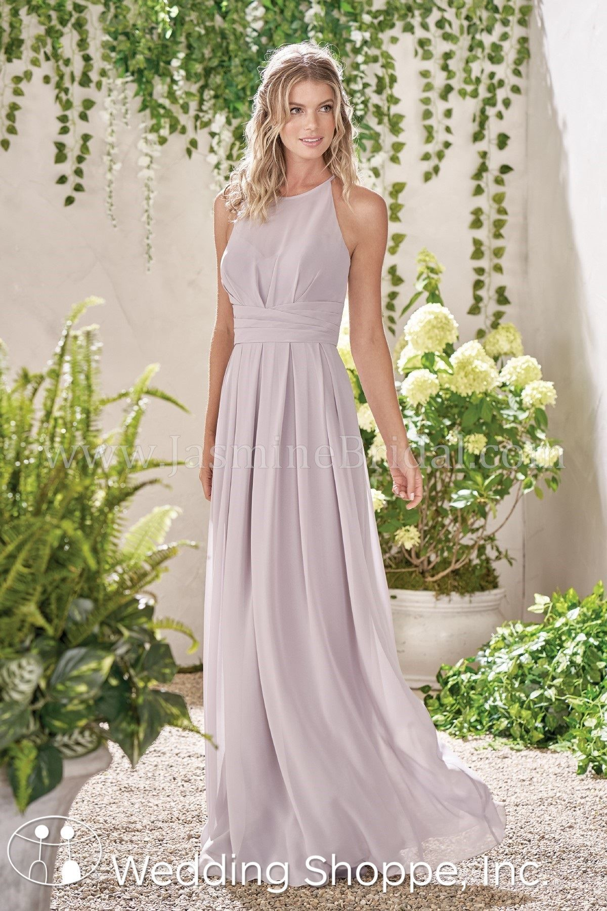 d688d5832a3 A romantic and vintage bohemian inspired bridesmaid dress with a high  neckline and high slit