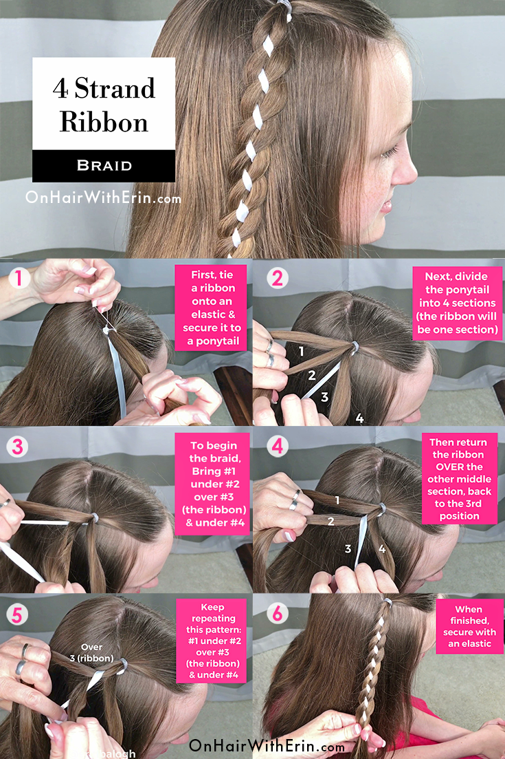 4 Strand Ribbon Braid By Erin Balogh Go Beyond The Basics Of Braiding With Detailed Step By Step Instruction Hair Braid Ribbon Ribbon Braids Ribbon Hairstyle
