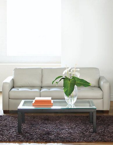 Home | Sofas | Naples Leather Sofa With Track Arm | Hudsonu0027s Bay