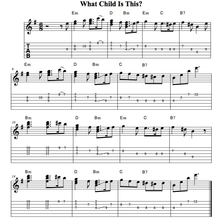 Easy Holiday Songs For Guitar • What Child Is This • Solo