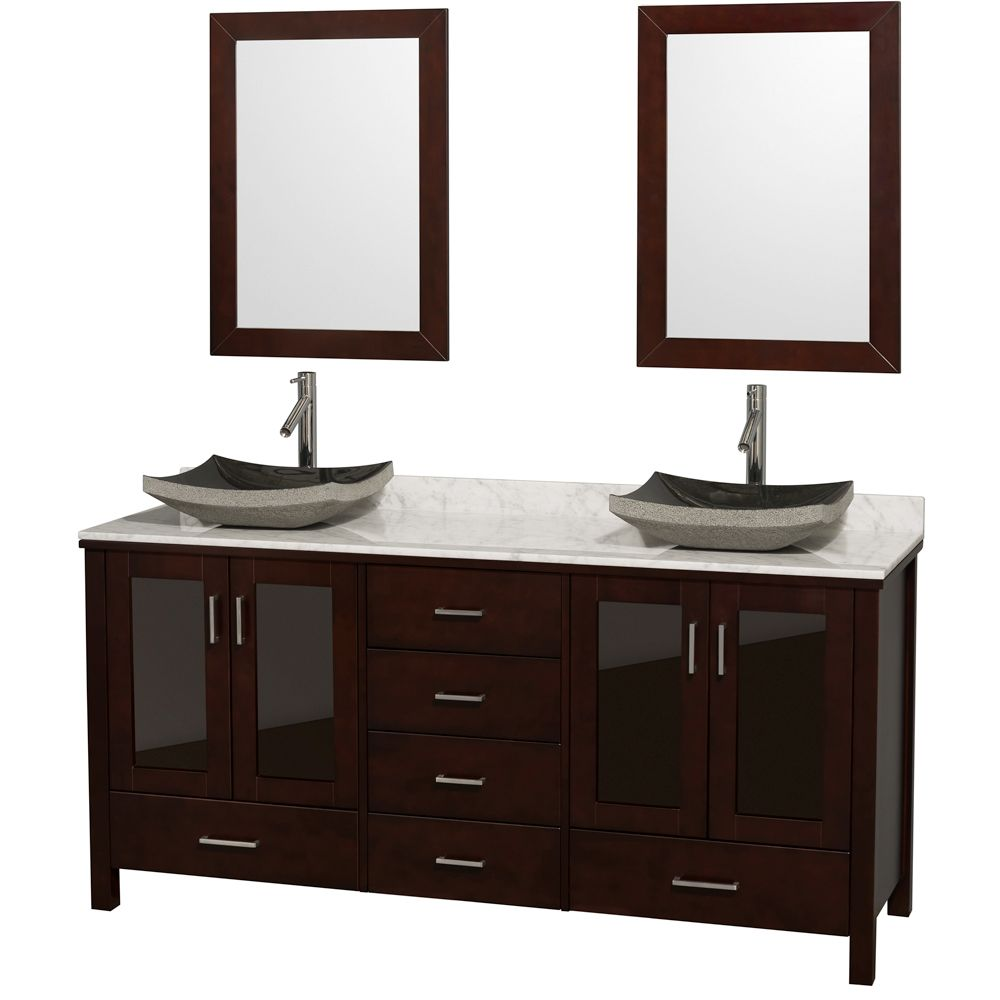 Lucy 72 Double Bathroom Vanity Set With Vessel Sinks By Wyndham