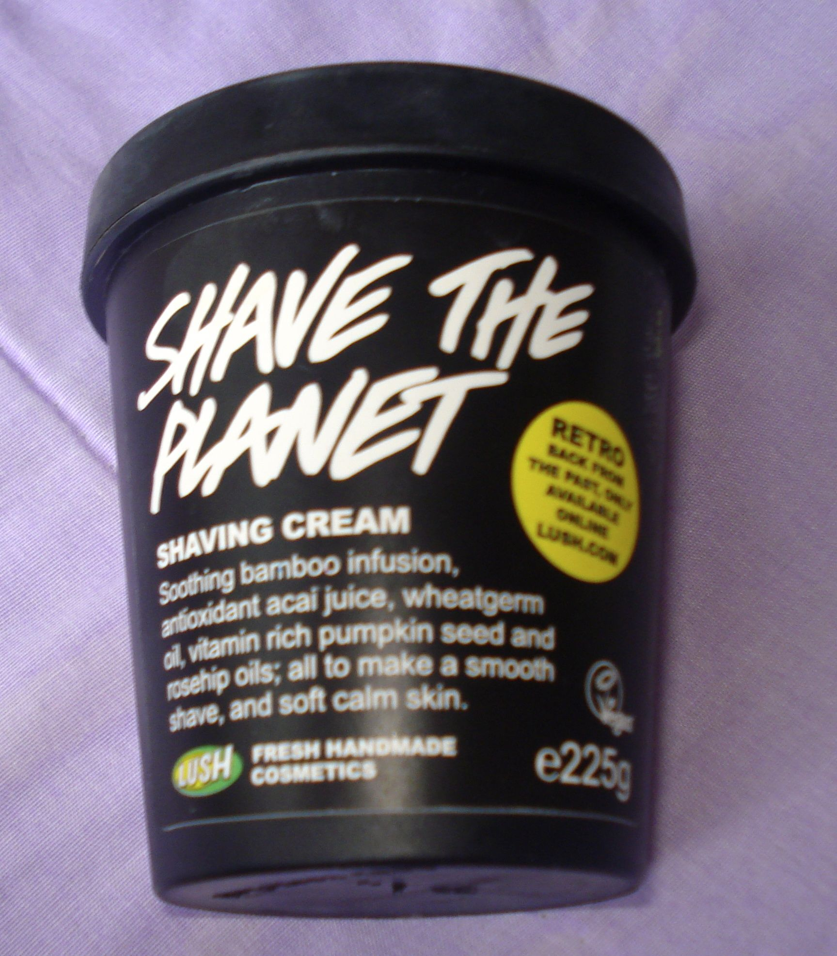 """Shave The Planet Shaving Cream: """"Soothing bamboo infusion, antioxidant acai juice, wheatgerm oil, vitamin rich pumpkin seed and rosehip oils; all to make a smooth shave, and soft calm skin"""""""