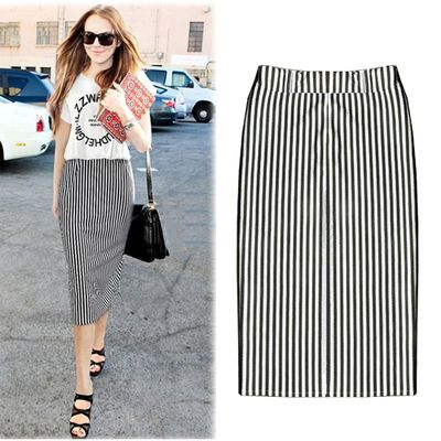 67187466a Plus Size 2014 Europe and America Women Vertical Black White Striped Skirts  Elastic Waist Casual Midi Long Pencil Skirt B46416 € 8,19