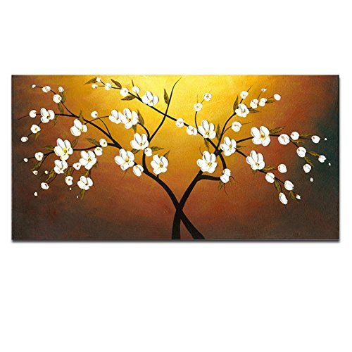 Wieco Art Red Flowers Modern Floral 100/% Hand Painted Oil Paintings Artwork on Stretched and Framed Canvas Wall Art Ready to Hang for Home Decorations by Wieco Art