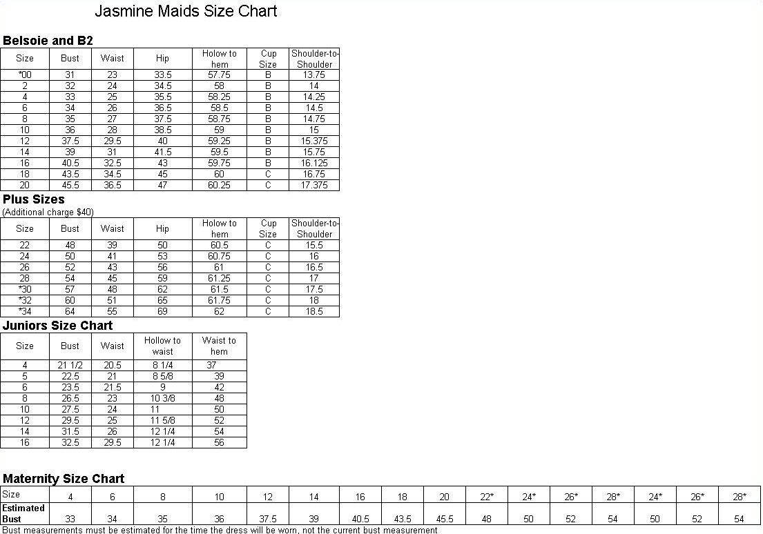 Curvaceous Couture Bridal Collection | Jim Hjelm Dress Size Chart ...