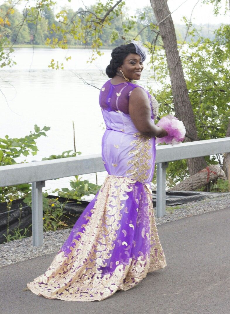 Simple n elegant wedding dress !lilac and Gold | Kitenge | Pinterest