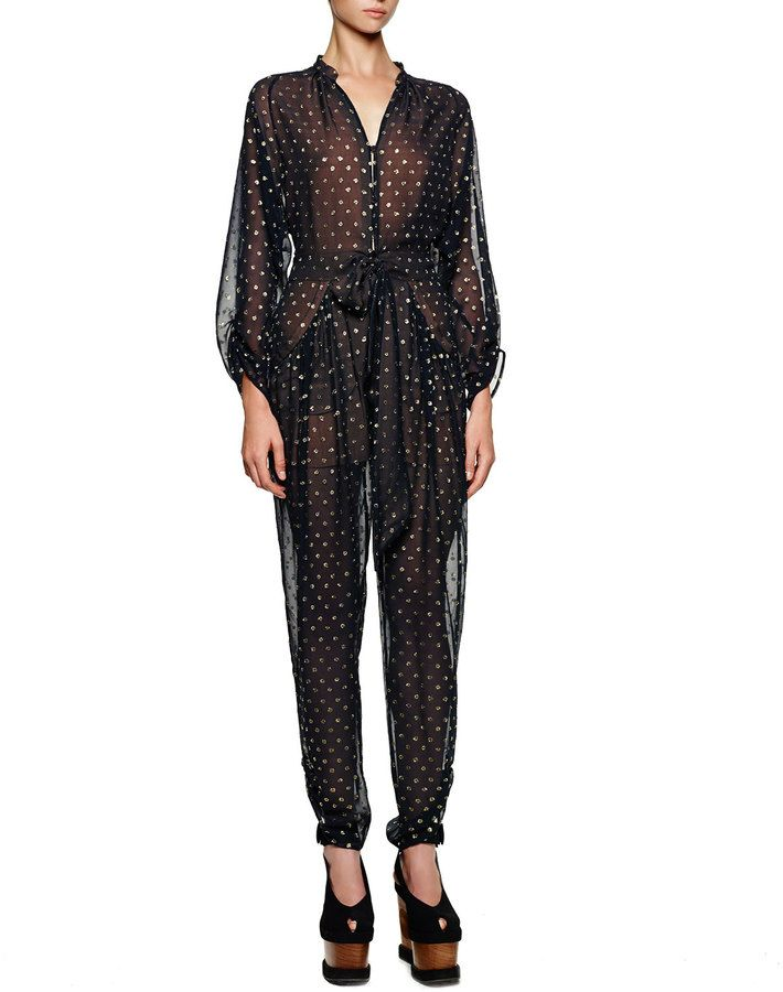 aac1e27810a1 Stella McCartney Gold Dotted Tie-Front Tapered Jumpsuit