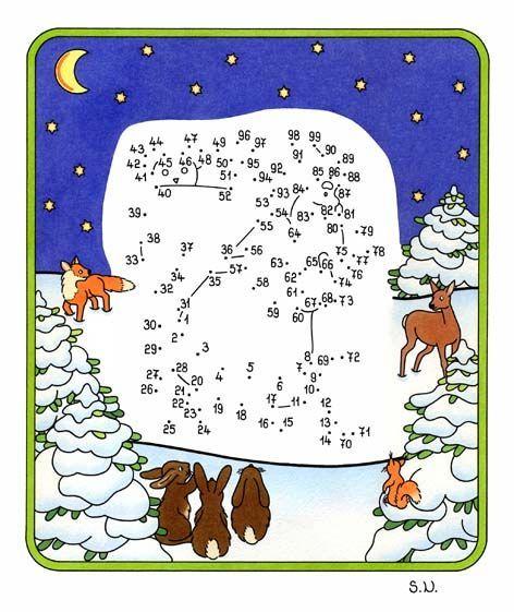 Weihnachtsrätsel, Malen nach Zahlen, Weihnchtsmann und Tiere bei ...