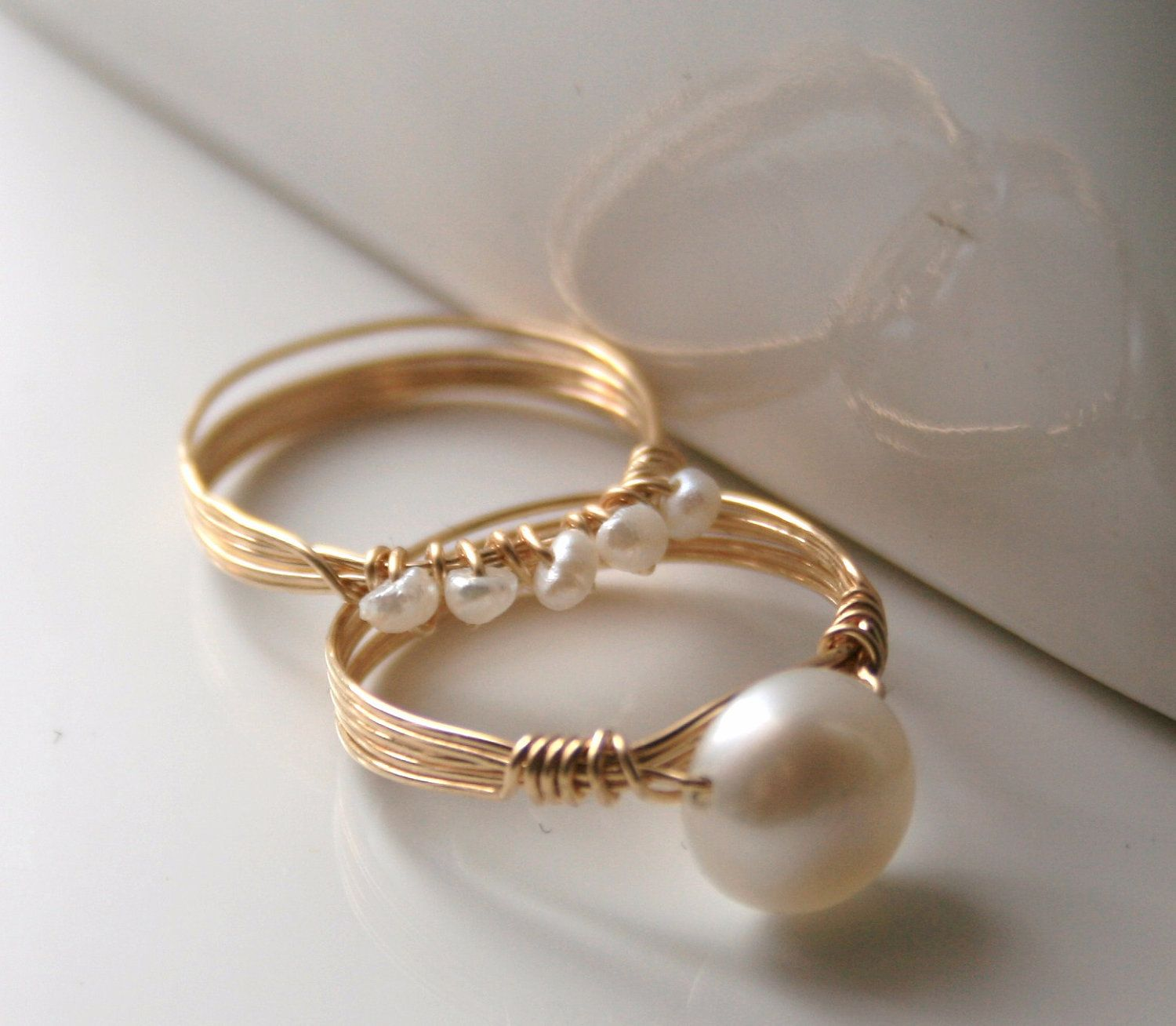 Freshwater Pearl Rings Matching Set 14k Gold Filled Wire