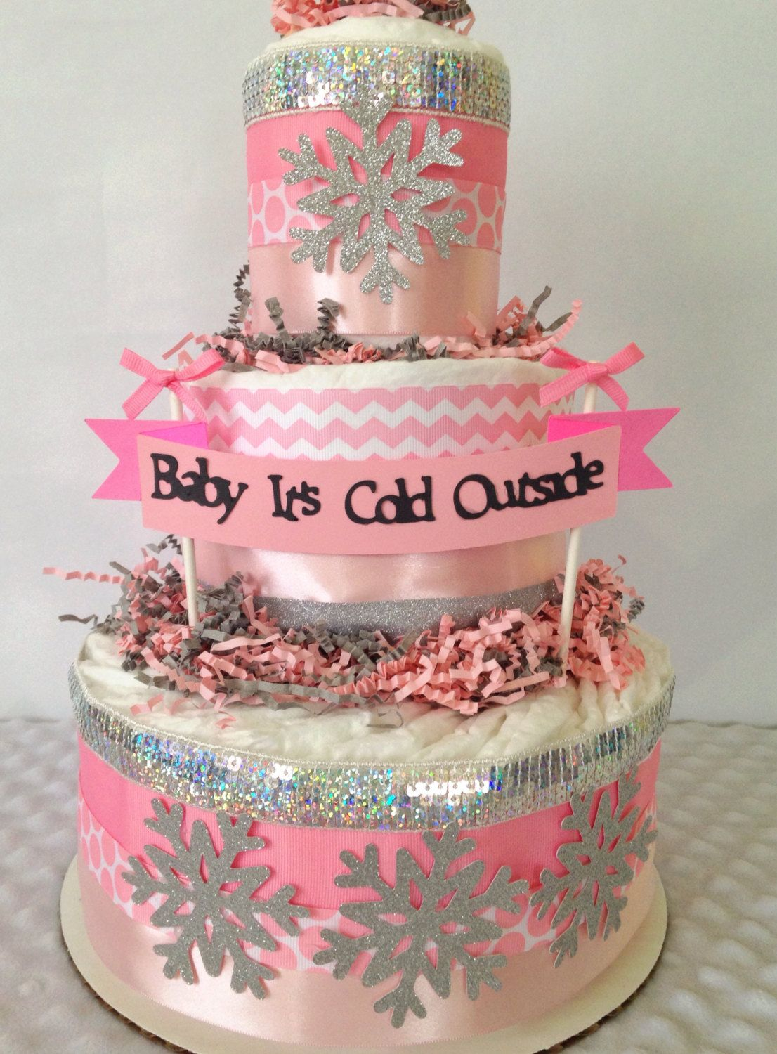 Baby it s cold outside shower diaper cake centerpiece