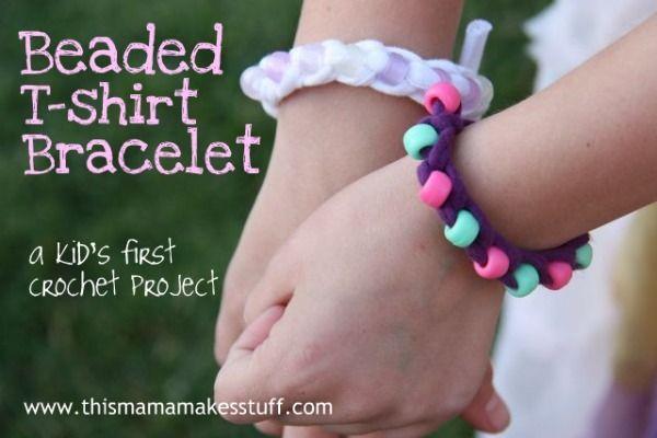 beaded T-shirt bracelet