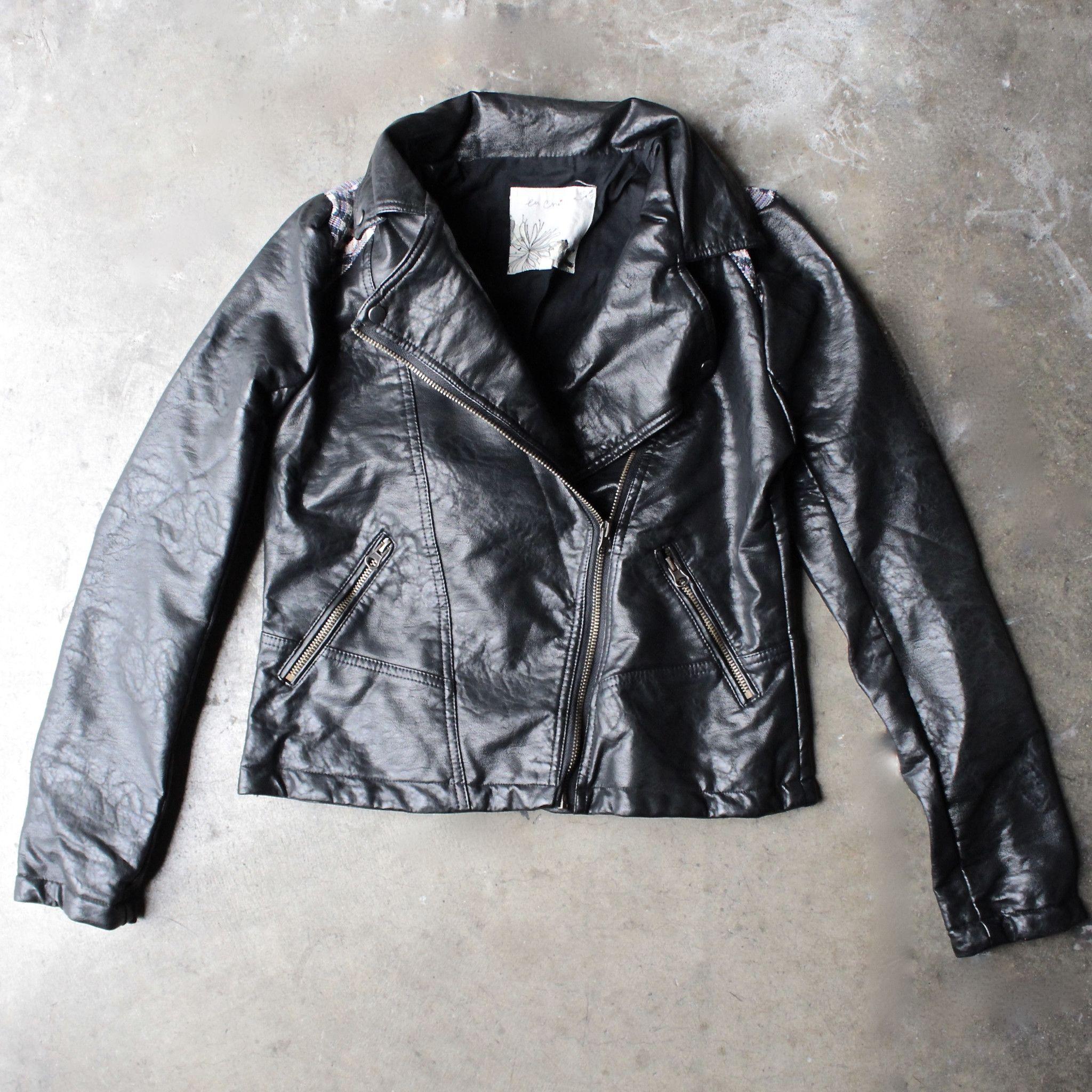 Faux leather moto jacket with design Jackets, Moto