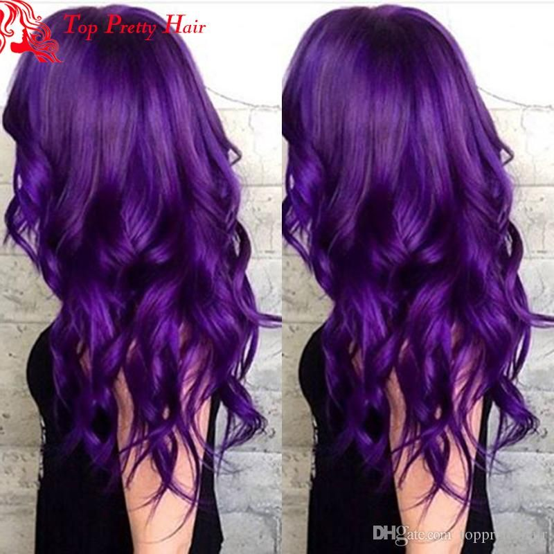 Glueless Purple Human Hair Wig Brazilian Body Wave Full Lace Purple Ombre  Hair Wig For White Women Lace Front Purple Wig Grade 8A Purple Human Hair  Wig ... 6144930e4