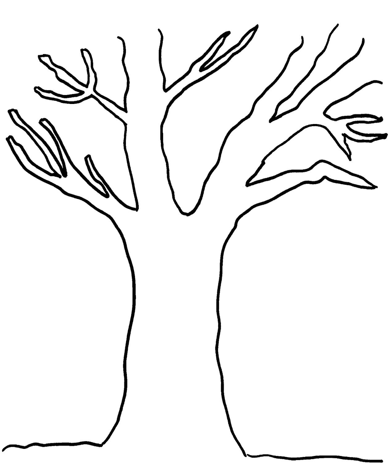 Tree With No Leaves Coloring Page Tree Outline Tree Coloring