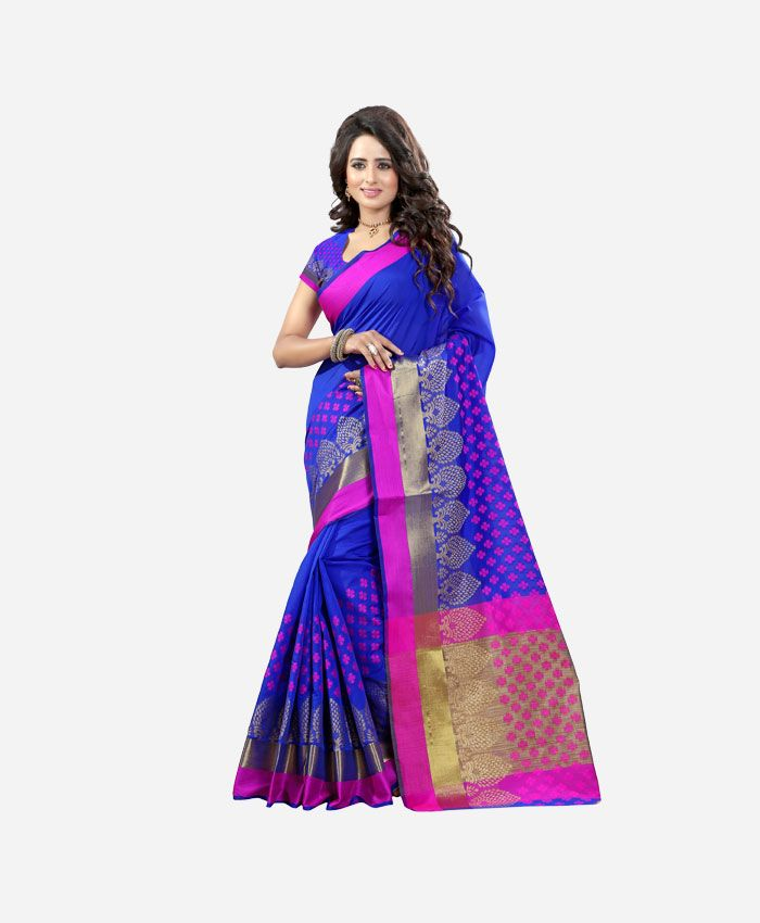 Blue Cotton Sarees Online Purchase at Renzza. Buy Beautiful Poly ...