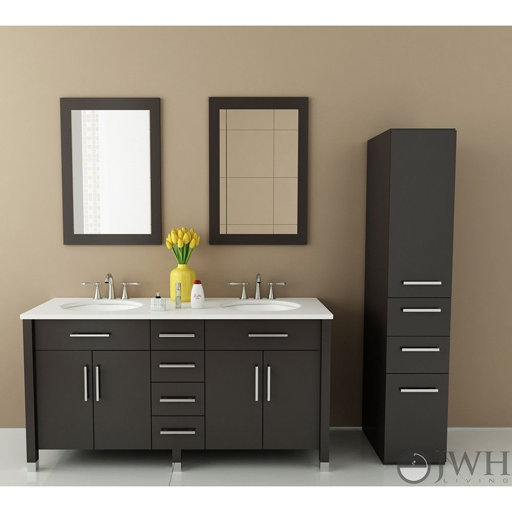 Jwh Living Rana 59 Transitional Double Sink Bathroom Vanity Jwh 9025 At Discountbathroom Double Sink Bathroom Vanity Double Sink Bathroom Bathroom Sink Vanity Double sink bathroom vanity clearance